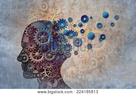 Alzheimer's memory loss due to Dementia and brain disease with the abstract medical icon of a human head and neurology research as a 3D illustration.