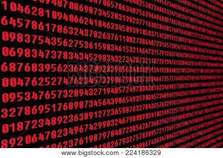 Global digital technologies. Big Red digital code as matrix stream background, computer code with shining red digits in perspective