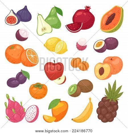 Fruits set vector fruity apple banana and exotic papaya with fresh slices of tropical dragonfruit or juicy orange illustration fruitful set isolated on white background.