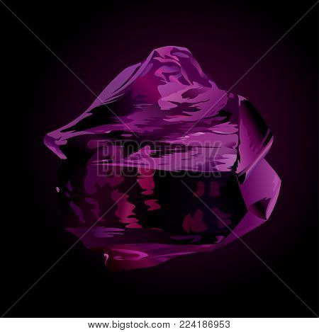 Vector beautiful violet obsidian on dark background