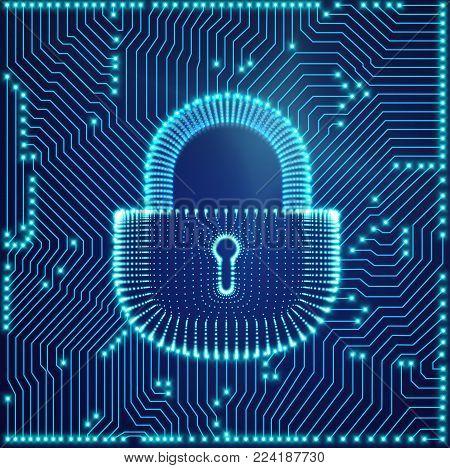 Coputer internet cyber security background. Cyber crime vector illustration. digital