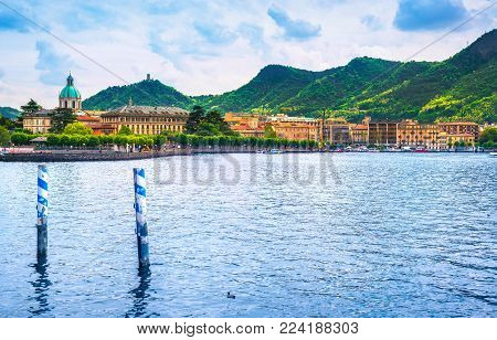 Como city in italian lake district, lake front. Italy, Europe.
