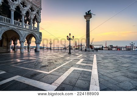 Venice landmark at dawn, view of Piazza San Marco or st Mark square, San Giorgio church and Ducale or Doge Palace. Italy, Europe.