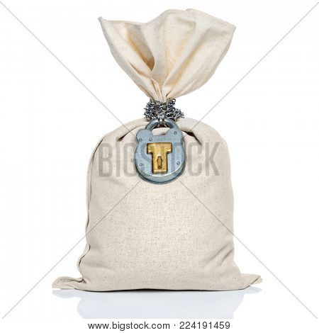 Blank money cash bag with padlock and chain for financial security concept, isolated on a white background.