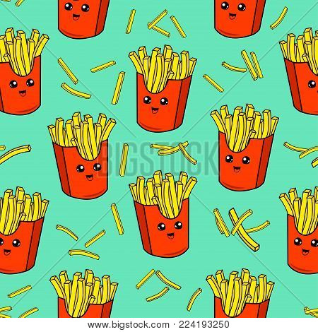 Cute kids french fries pattern for girls and boys. Colorful french fries on the abstract grunge background create a fun cartoon drawing.The pattern is made in neon colors. Urban french fries pattern