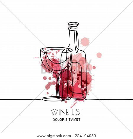 Continuous Line Drawing. Vector Linear Illustration Of Red Or Rose Wine And Glass On Watercolor Spla