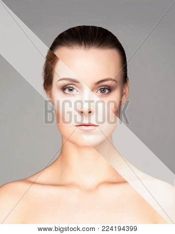 Perfect female face made of different faces. Plastic surgery and cosmetics concept.