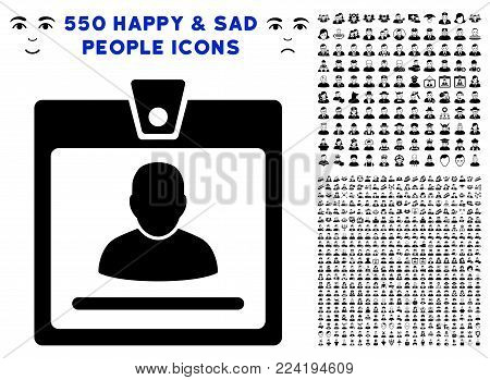 Access Badge pictograph with 550 bonus sad and glad people pictures. Vector illustration style is flat black iconic symbols.