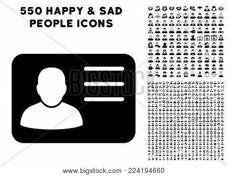 Account Card pictograph with 550 bonus pitiful and happy men graphic icons. Vector illustration style is flat black iconic symbols.
