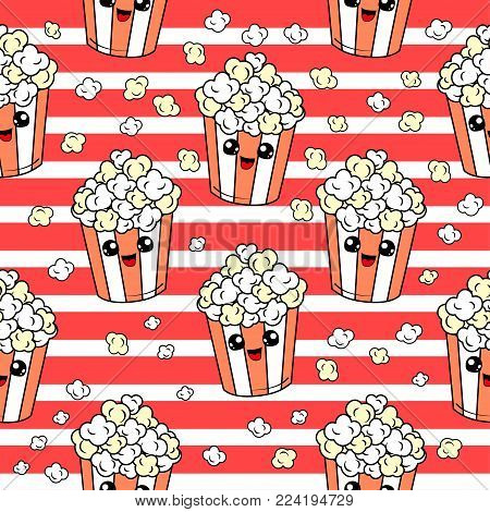 Cute kids pop corn pattern for girls and boys. Colorful pop corn on the abstract grunge pattern create a fun cartoon drawing.The pop corn pattern is made in neon colors. Urban backdrop for textile.