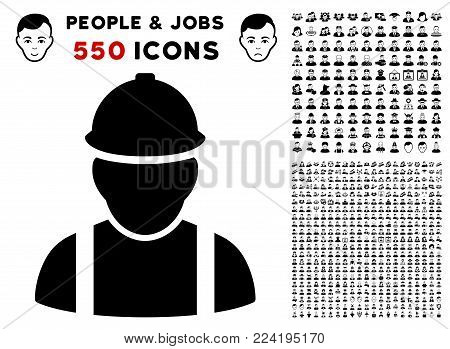 Builder pictograph with 550 bonus sad and glad user pictographs. Vector illustration style is flat black iconic symbols.