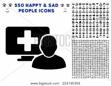Computer Doctor pictograph with 550 bonus sad and glad men pictographs. Vector illustration style is flat black iconic symbols.