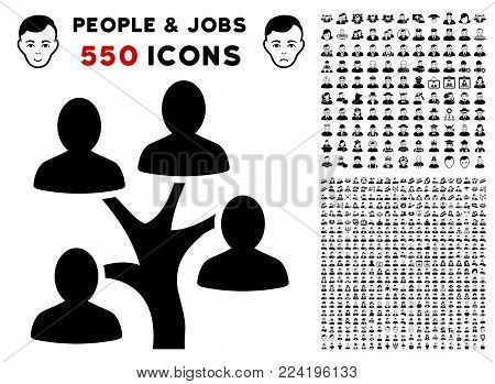Genealogy Tree icon with 550 bonus pity and glad jobs images. Vector illustration style is flat black iconic symbols.