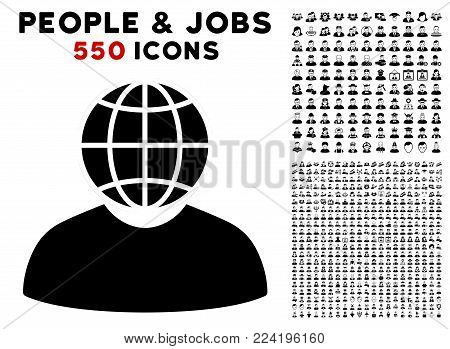 Global Politician pictograph with 550 bonus pitiful and glad person graphic icons. Vector illustration style is flat black iconic symbols.