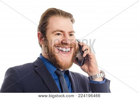 A Strange Office Man With A Big Head In A Blue Suit Standing Isolated Against White Background