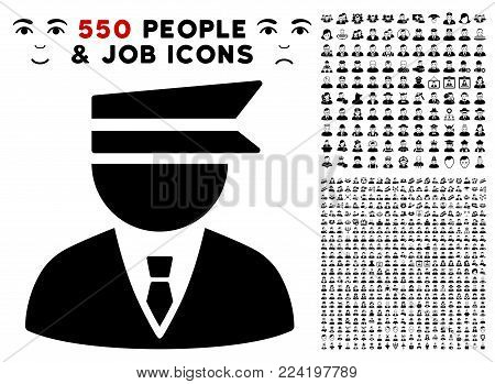 Police Officer pictograph with 550 bonus pitiful and happy people pictographs. Vector illustration style is flat black iconic symbols.