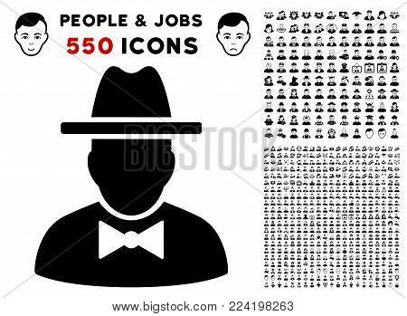 Spy icon with 550 bonus sad and happy person pictograms. Vector illustration style is flat black iconic symbols.