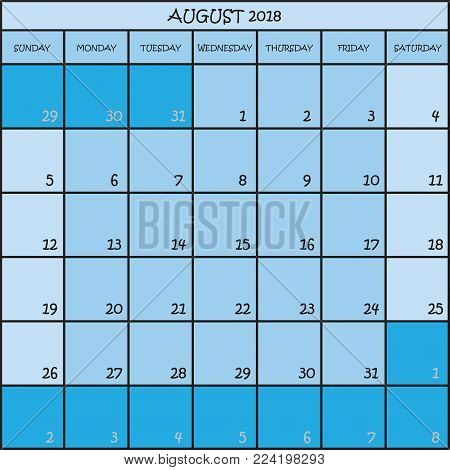 CALENDAR PLANNER MONTH AUGUST 2018 ON THREE SHADES OF BLUE COLOR BACKGROUND
