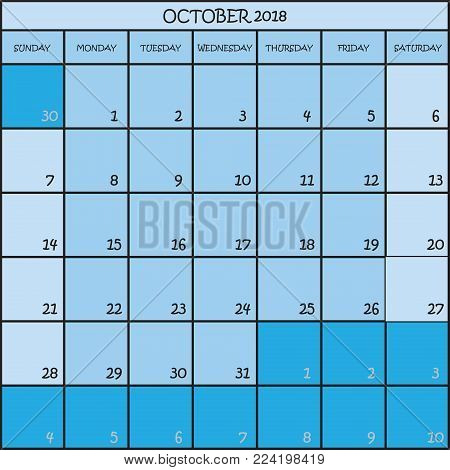CALENDAR PLANNER OCTOBER 2018 ON THREE SHADES OF BLUE COLOR BACKGROUND