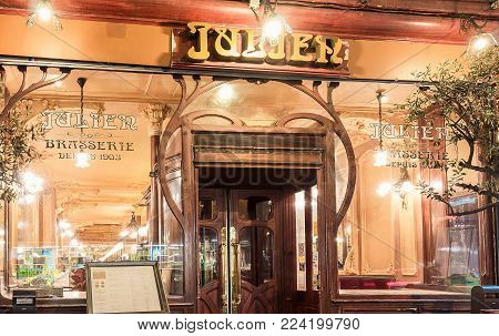 Paris, France-January 28, 2018 :Located right in the heart of Paris, a stone s throw from the Grands Boulevards and theatres, Brasserie Julien is a listed historical monument founded in 1903.