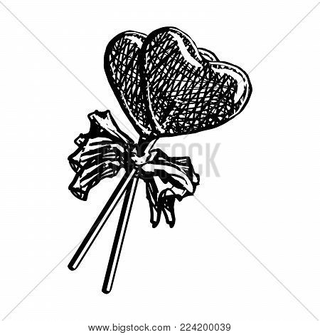 Lollipop Sketch In Heart Shape Isolated On White Background. Doodle Engraving Candy On Stick With Ribbon Bow Vintage Vector Illustration. Cotton Candy Sweets.