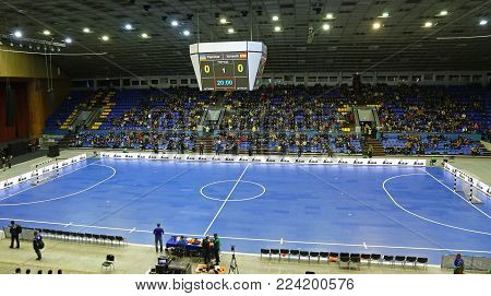 KYIV, UKRAINE - JANUARY 29, 2017: Panoramic view of Palats of Sports in Kyiv during friendly Futsal match Ukraine v Spain