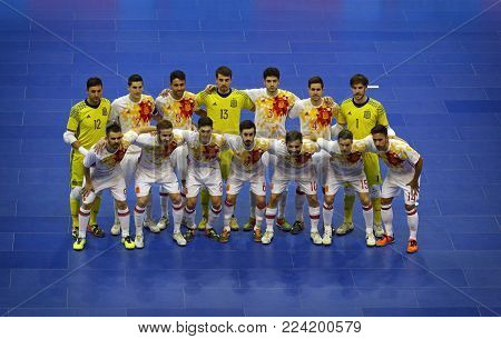 KYIV, UKRAINE - JANUARY 29, 2017: National Futsal Team of Spain pose for a group photo during friendly Futsal match against Ukraine at Palats of Sports in Kyiv, Ukraine