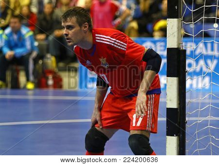 KYIV, UKRAINE - JANUARY 29, 2017: Goalkeeper Kyrylo Tsypun of Ukraine in action during friendly Futsal match against Spain at Palats of Sports in Kyiv, Ukraine