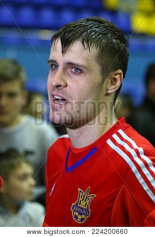 KYIV, UKRAINE - JANUARY 29, 2017: Goalkeeper Kyrylo Tsypun of Ukraine gives an interview after the friendly Futsal match against Spain at Palats of Sports in Kyiv, Ukraine