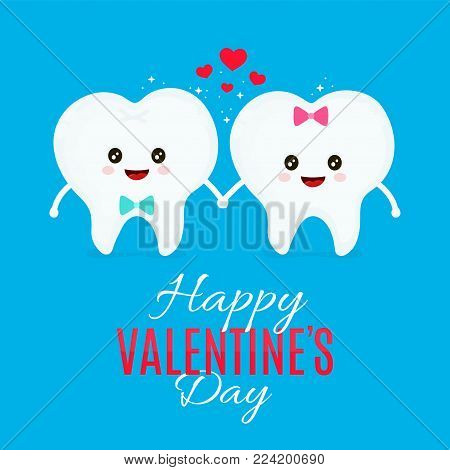 Two loving teeth. Vector flat cartoon illustration character icon design. Isolated on white background.Valentine's Day lovers, card,tooth concept