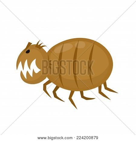 Funny angry flea. Pets parasite. Vector flat cartoon character illustration icon. Isolated on white backgrou