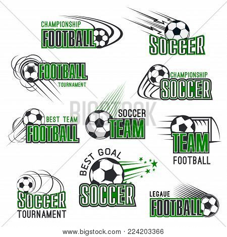 Soccer cup championship icons templates for football club or college league sport tournament. Vector isolated symbols of soccer ball goal and champion stars for football team game