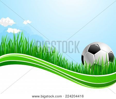 Soccer background template or football game arena banner design for fan club or college team championship and sport tournament. Vector soccer ball on stadium grass field and clouds on sky