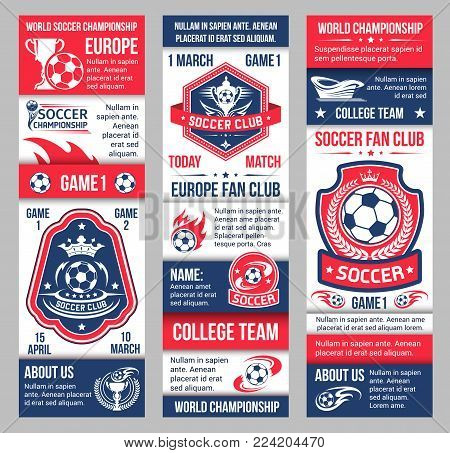 Soccer fan club championship banners design for football team or college league match tournament. Vector ball on arena stadium, victory cup and football team fla with stars and crown