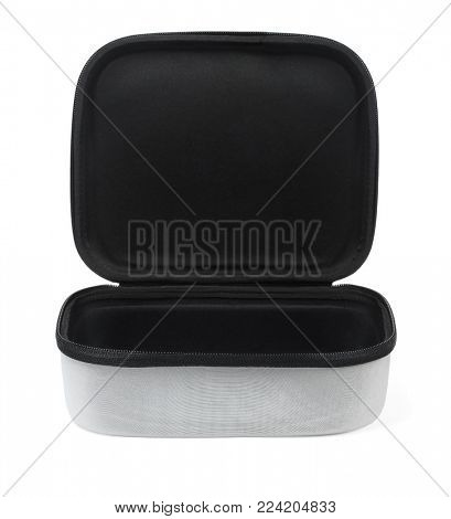 Open Accessory Carrying Case on White Background