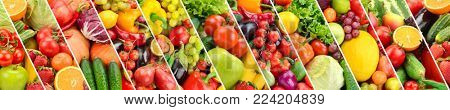 Panoramic collection fresh fruits and vegetables separated oblique stripes.
