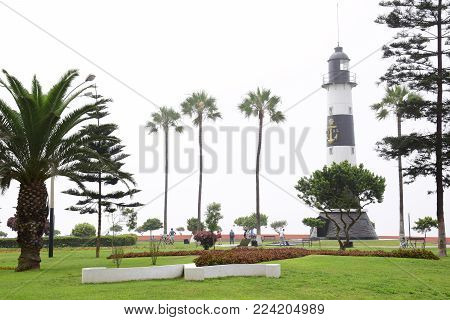 LIma, Peru January 2018: View of the lighthouse in Miraflores a district in the south of the city.