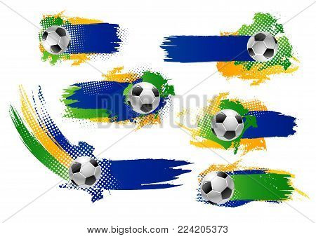 Soccer game banners or football backgrounds design template for football cup championship. Vector set of soccer ball and green or blue., yellow color for football championship league team icons