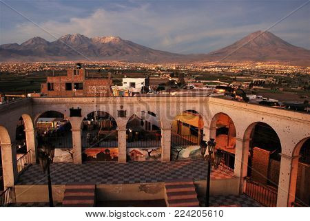 Arequipa, Peru February 2007, View of Volcano Chachani from the little town of Sachaca near the city.