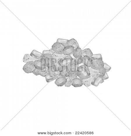 Sea salt crystals  isolated on white