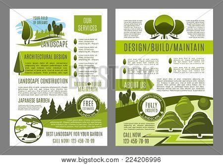 Green landscape design brochure template for build and maintain service or eco environment company. Vector poster for gardening or garden horticulture landscaping of green ecology nature trees or park