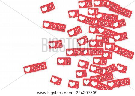 Social media counters. Like background. Social network icons. SMM, digital marketing, advertising, app, seo, web background with falling like counters isolated on white backdrop. Web addiction.