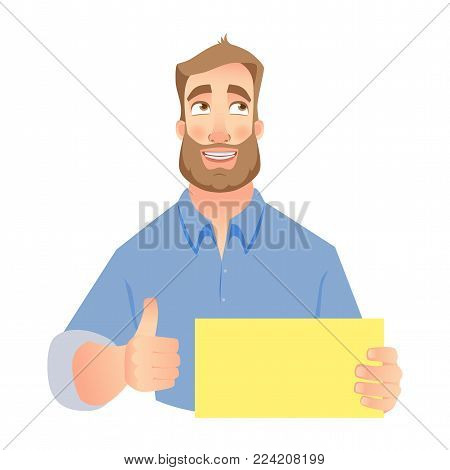 Man holding blank card. Vector set. Businessman holding blank banner for your text