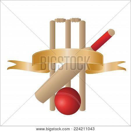 illustration of  one cricket bat with wickets and a blank gold banner on a white background