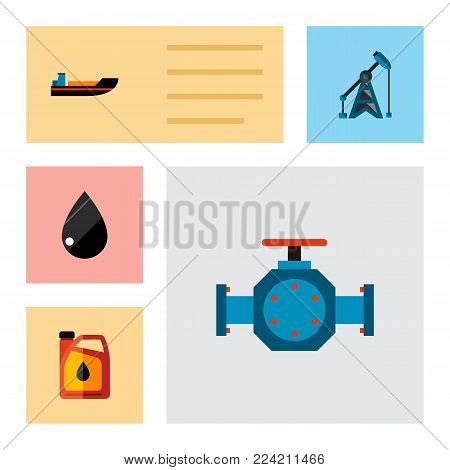 Icon flat petrol set of liquid drop, oil pump, ship and other vector objects. Also includes oil, pump, boat elements.