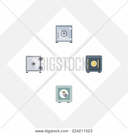 Icon flat strongbox set of saving, security, safe and other vector objects. Also includes saving, security, strongbox elements.