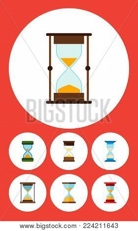 Icon flat timer set of loading, waiting, sand timer vector objects. Also includes timer, hourglass, sandglass elements.