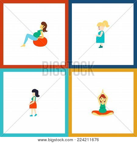 Icon flat pregnancy set of fitness, pregnancy, mother and other vector objects. Also includes pregnant, woman, pregnancy elements.