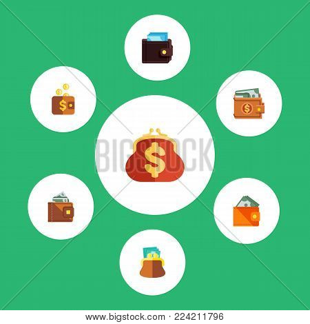 Icon flat wallet set of billfold, pouch, money and other vector objects. Also includes money, pouch, wallet elements.