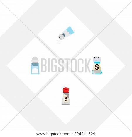 Icon flat sodium set of saltshaker, spicy, sodium and other vector objects. Also includes sodium, saltshaker, salt elements.